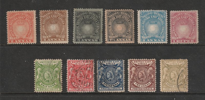 British East Africa a small mainly mint lot QV era