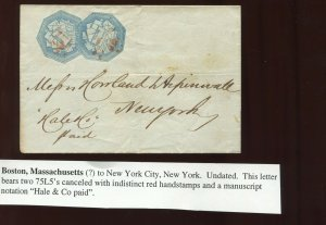 75L5 Hale & Co. 2 Local Stamps On Nice  Cover  Boston to NYC (75L5 A10)
