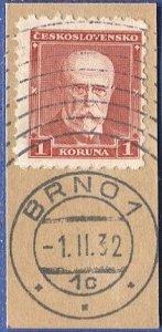 CZECHOSLOVAKIA 1930 Sc 170, Used on piece, BRNO special 10-ring cancel