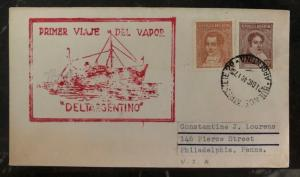 1907 Buenos Aires Argentina First Travel Cover To Philadelphia Pa USA Deltargent