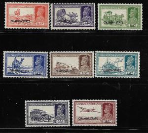 INDIA, CHAMBA STATE, 74-81 MINT HINGED OVERPRINTED STAMPS 1938