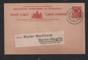 Tanganyika 1923 15c Postal Stationery postcard MOSHI CDS WS13332