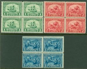 EDW1949SELL : USA 1920 Scott #548-50 Blocks of 4. Mint Never Hinged. Cat $345.00