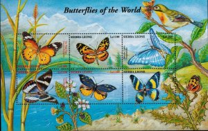 Sierra Leone MNH S/S Butterflies Of The World 6 Stamps