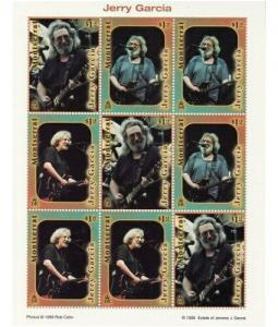 Montserrat - Jerry Garcia 9 Stamp  Sheet  976-8