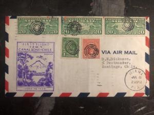 1929 Miami FL Usa First Flight cover FFC to Santiago Chile Via Canal Zone