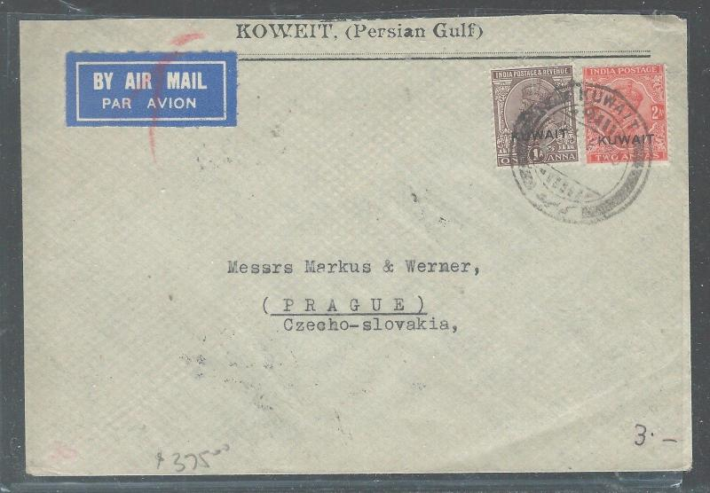 KUWAIT  (P2308B) ON INDIA KGV 1935 A/M VIA GREECE TO CZECHOSLOVAKIA
