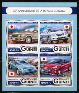 GUINEA 2016 50th ANNIVERSARY OF THE TOYOTA COROLLA  SHEET MINT NH