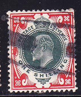 Great Britain 1902 1shilling  KEVII car & dull green VF/used(o)