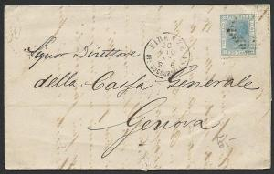 ITALY 1869 cover Firenze to Genoa..........................................47836