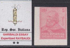 ITALY RSI (Social Rep) - GARIBALDI ESSAY 5 Lire signed Raybaudi