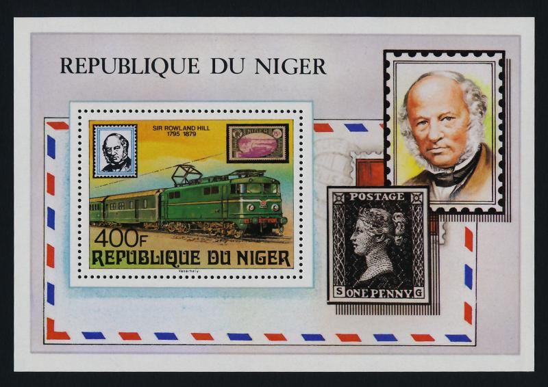 Niger 478 MNH Rowland Hill, Stamp on Stamp, Trains
