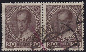 Austria - 1908 - Scott #117 - used pair - NUSLE 3 pmk Czech Republic
