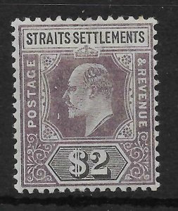 MALAYA STRAITS SETTLEMENTS SG120 1902 $2 DULL PURPLE & BLACK MTD MINT
