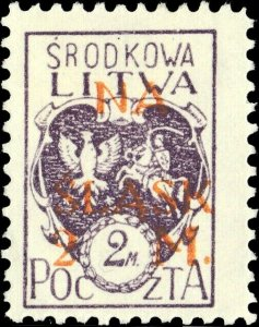 CENTRAL LITHUANIA / MITTELLITAUEN - 1921 Mi.25A 2M/2M Mint* - ref.881i