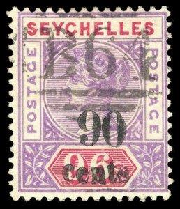 Seychelles 1893 QV 90c on 96c mauve & carmine very fine used. SG 21. Sc 26