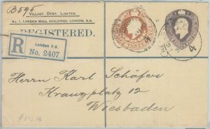82220 - GB - Postal History: Private Registered STATIONERY COVER to GERMANY 1910