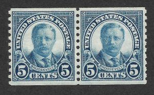 Doyle's_Stamps: 1924 H/NH Horizontal Coil Pair of 5c Roosevelt's
