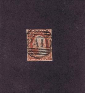 SCOTT# 10 USED 3c WASHINGTON, 1851 ~ PAID ~ IN GRID CANCEL, NICE, TAKE A LOOK.