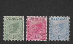 Malaya Negri Sembilan Scott # 2-4 VF-OG scv $ 43 ! nice colors ! see pic!