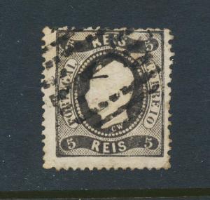 PORTUGAL 1867, 5Rs PERF 12½, VF USED Sc#25 (SEE BELOW)