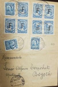 O) 1926 COLOMBIA, SCADTA FRANCE, MULTIPLE COVER SC AP6, SANTANDER 4 CENTAVOS TO