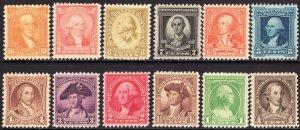 1932 U.S George Washington bicentennial complete set MNH Sc# 704 / 715 CV $33