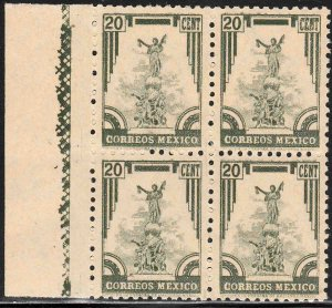 MEXICO 796, 20c 1934 Definitive Issue Blk of FOUR. MINT, NH. (177)
