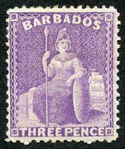Barbados SG75 3d mauve perf 14 wmk Crown CC M/Mint Cat 170 pounds Fresh