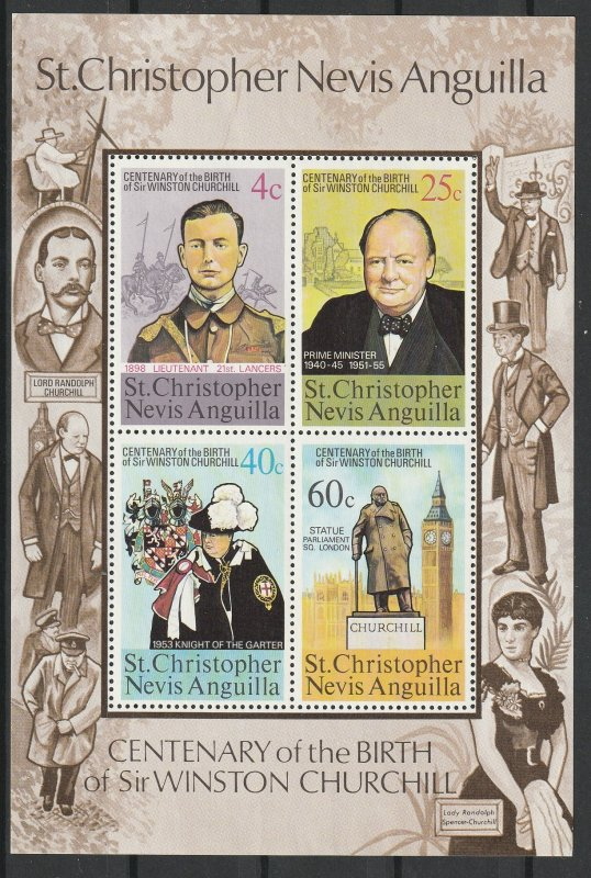 Nevis MNH S/S Centenary Of Birth Of Winston Churchill