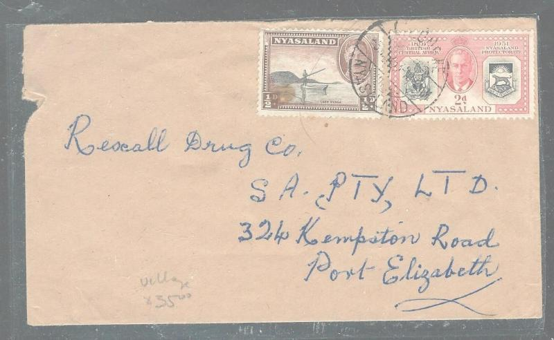NYASALAND  (P2903B) KGVI 1/2D FISHING+JUBILEE 2D COVER TO SOUTH AFRICA