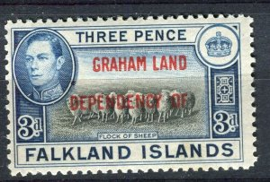 FALKLANDS; 1941 early GRAHAM LAND Optd. on GVI Mint hinged 3d. value