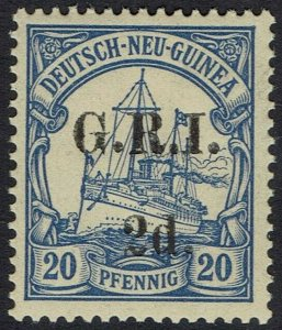 GRI NEW GUINEA 1914 YACHT 2D ON 20PF MNH ** 5MM SPACING