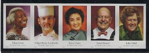 Modern Imperforate Stamps Catalog # 4922 26b Strip of 5 Celebrity Chefs Cooks