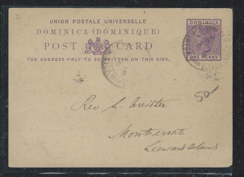 DOMINICA (P2612B) QV 1D PSC TO MONTSERRAT,  LEEWARD ISLANDS WITH MSG