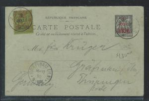 ZANZIBAR(PP2408B) FRENCH 1899 PSC 1A/10C UPRATED 2A/20C TO GERMANY NO MSG