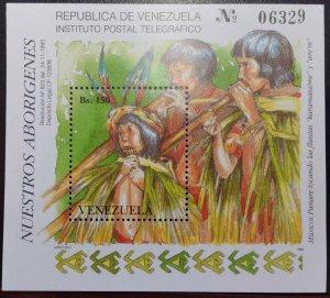 L) 1993 VENEZUELA, OUR ABORIGINES, INDIGENOUS, MUSICAL INSTRUMENTS, FLUTE, MNH