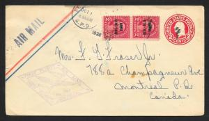 UNITED STATES First Flight Cover Sc#647 Pair on 1928 New York to Montreal