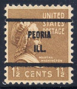 Peoria IL, 805-61 Bureau Precancel, 1½¢ M. Washington