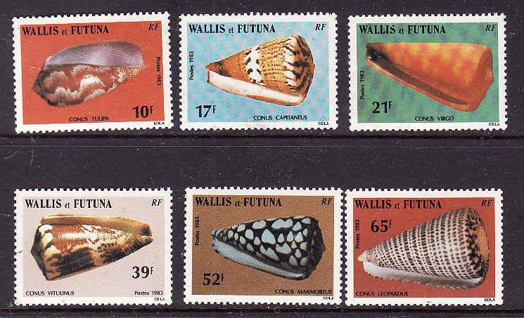 Wallis & Futuna-Sc#303//313-unused NH part of set-Seashells-Marine Life-1983-84-