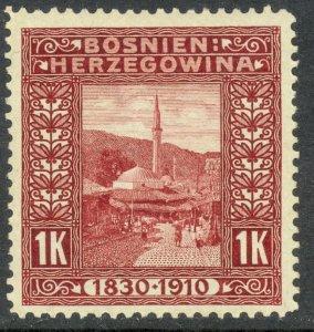 BOSNIA AND HERZEGOVINA 1910 1K Mosque Franz Joseph Birthday Jubilee Sc 59 MH
