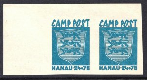 GERMANY LATVIA CAMP POST HANAU BLUE OG NH U/M CORNER MARGIN PAIR BEAUTIFUL GUM