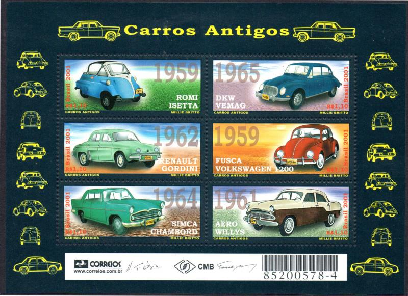 BRAZIL 2802 S/S MNH SCV $7.25 BIN $4.50 ANTIQUE CARS