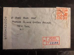 1940 Aruba Curacao Dutch West Ind Censored Cover To Ring Book Shop New York USA