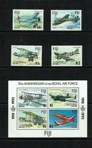 Fiji: 1993 75th Anniversary of the Royal Air Force, Set + M/S  MNH.