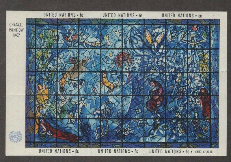 United Nations 179 - Chagall Window Souvenir Sheet. MNH OG.     #02 UN179