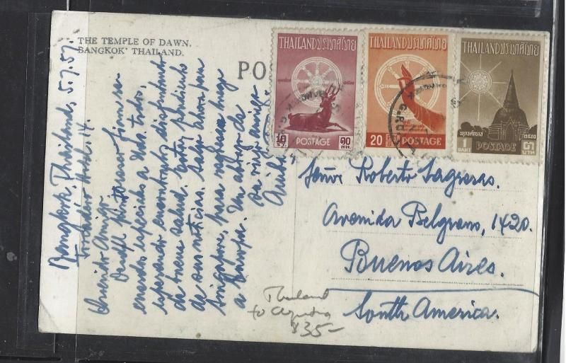 THAILAND (P0901B)  1957   PPC  WITH  10ST+20ST+1B SENT TO ARGENTINA