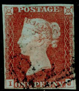 SG8, 1d red-brown PLATE 74, FINE USED. Cat £30. 4 MARGINS. IJ