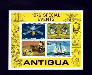ANTIGUA - 1976 - SPECIAL EVENTS - CRICKET - TELEPHONE  + SCHOONER + MNH S/SHEET!
