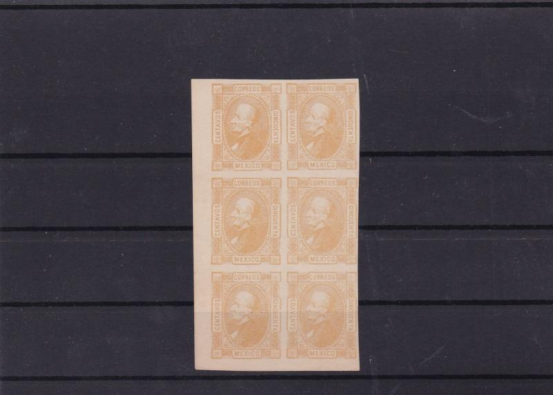 mexico 1872 imperf 50c mnh stamps block ref 11435